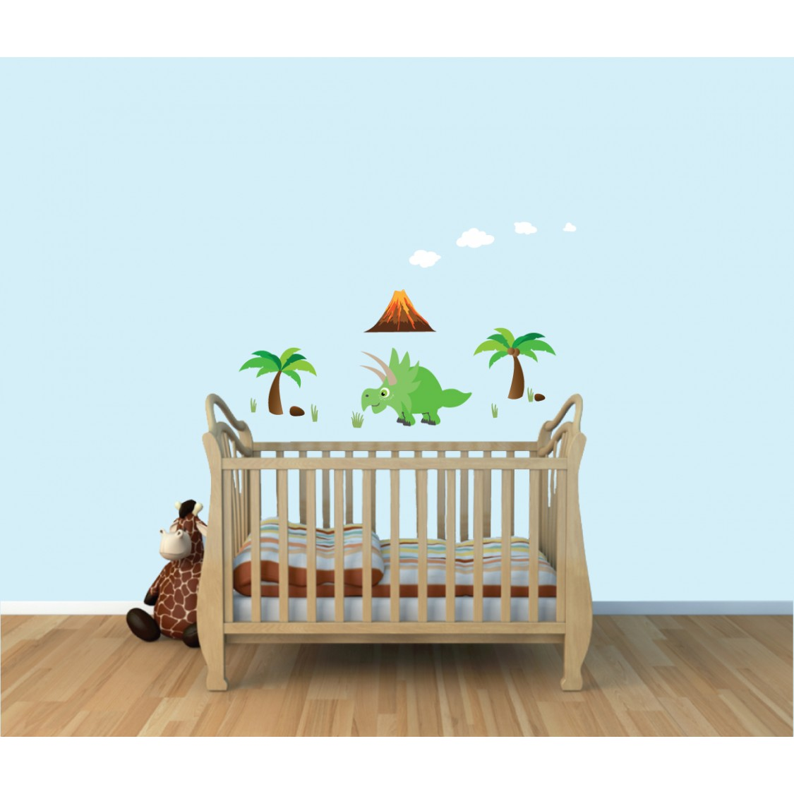 Childrens Bedroom Murals With Dinosaur Wall Stickers For Kids Rooms