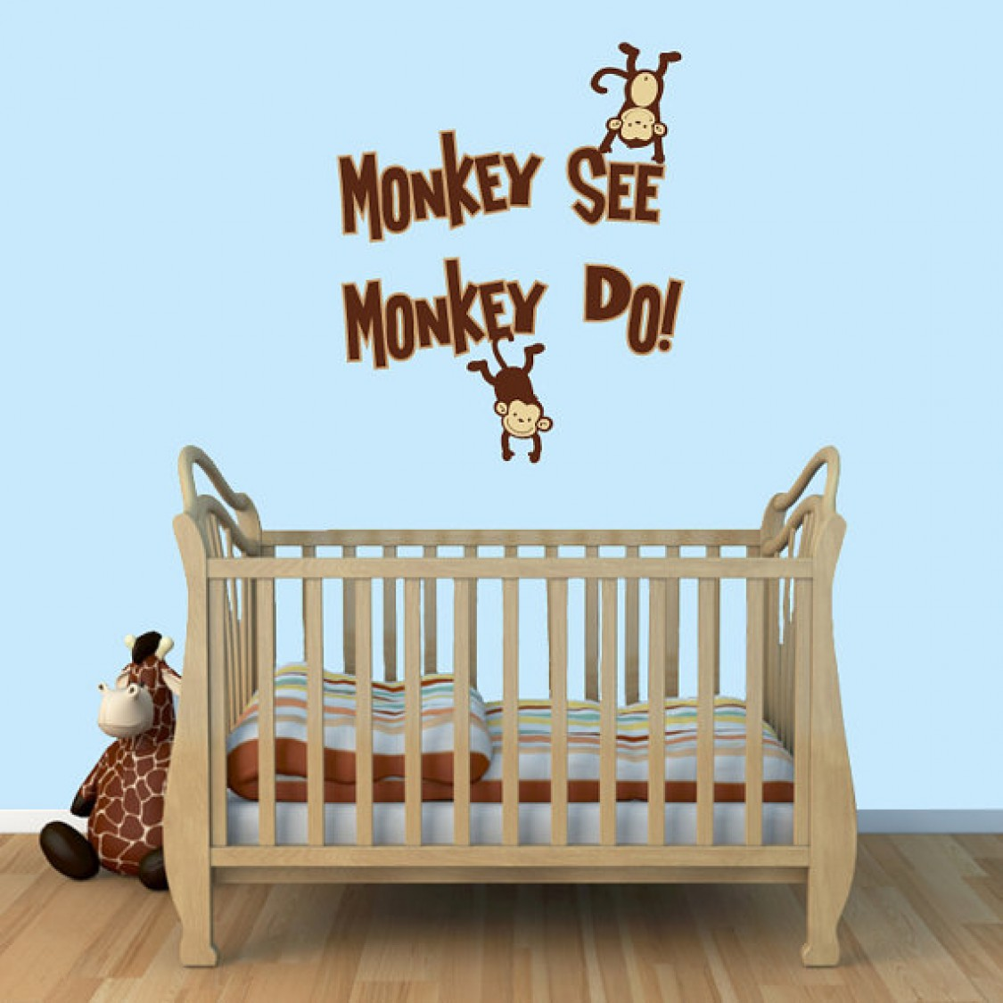 Monkey See / Monkey Do Stick On Wall Murals For Children