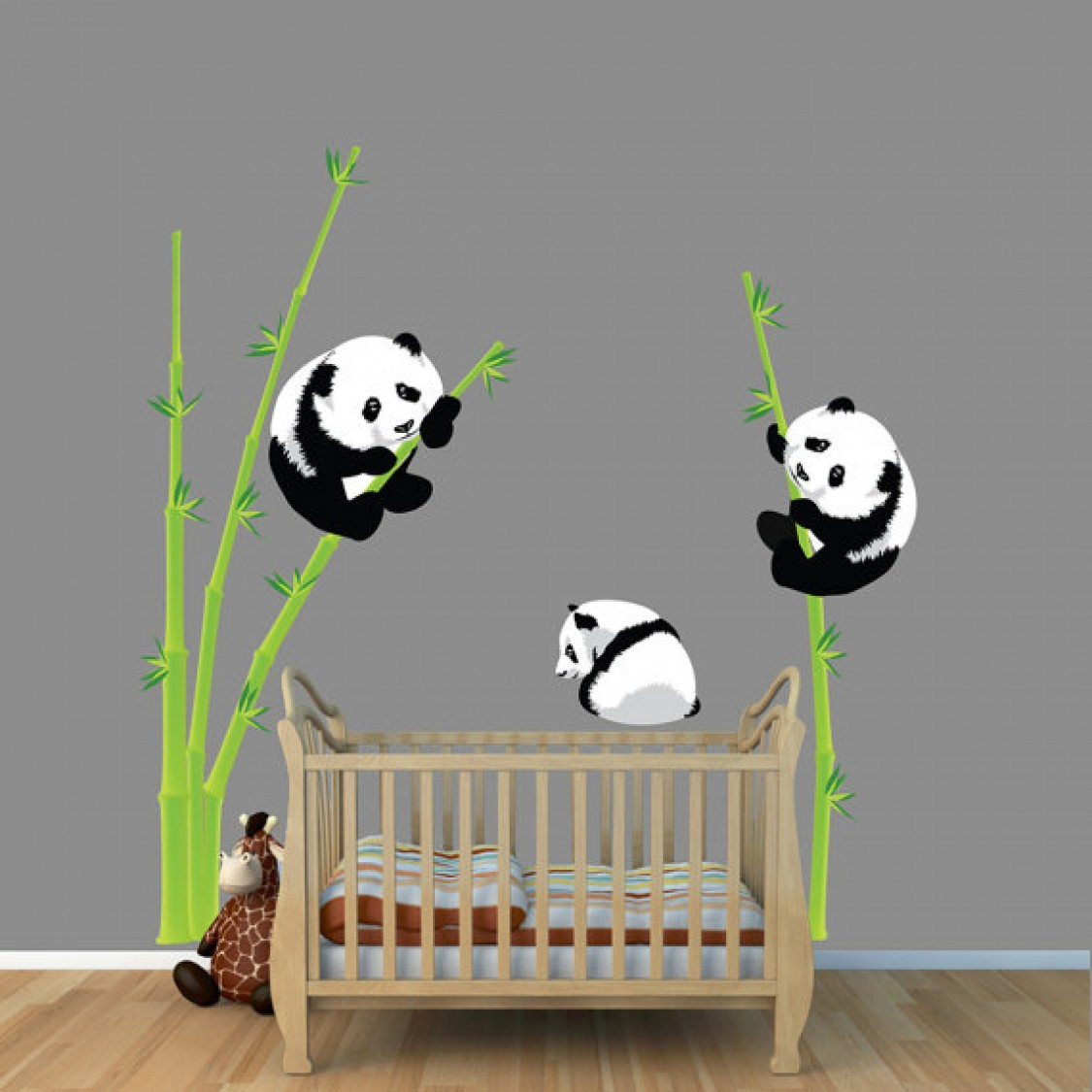 Panda Bear and Bamboo Vinyl Decals For Boys