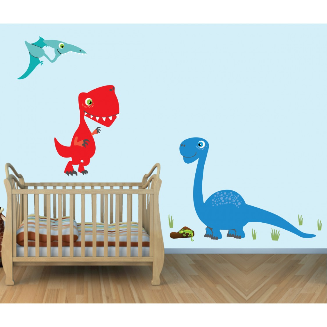 colorful large wall decals with dinosaurs wall stickers