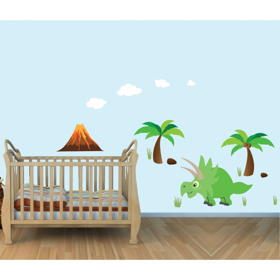 Colorful Large Wall Decor With Dinosaurs Stickers For Boys Bedrooms