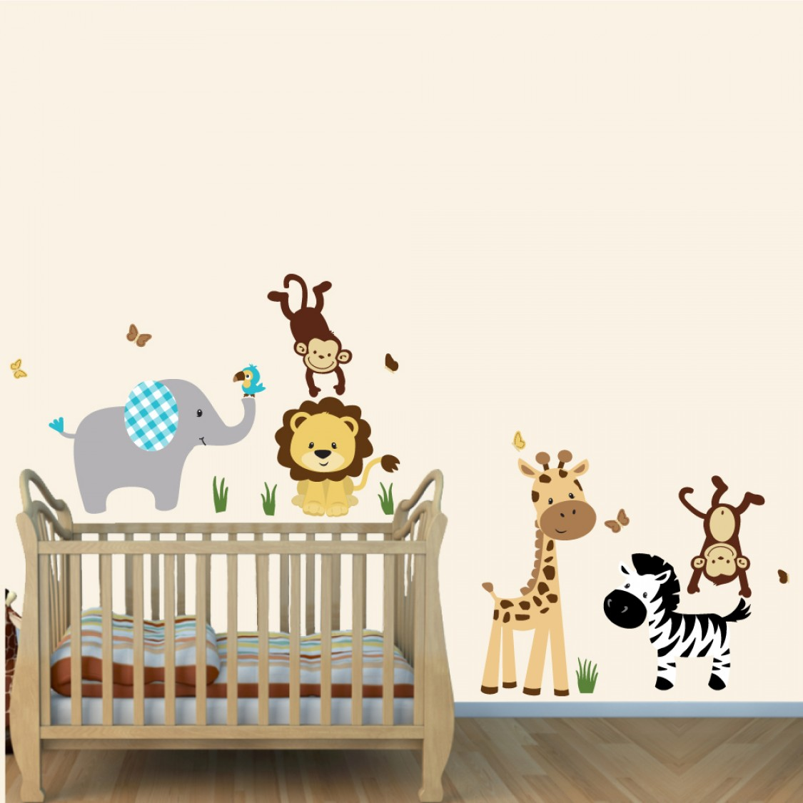 Gray Zoo Wall Stickers With Lion Stickers For Boys