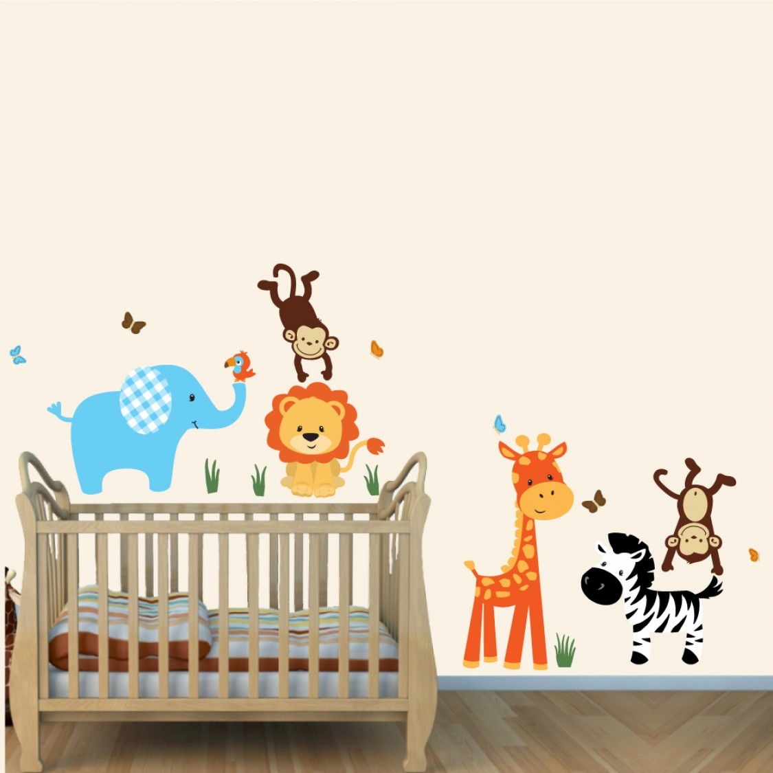 Colorful Safari Wall Murals With Lion Stickers For Boys