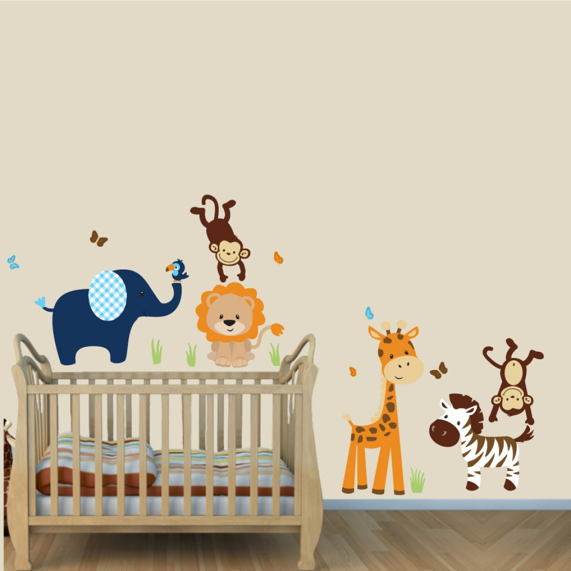 Navy and Orange Jungle Safari Stickers With Lion Stickers For Boys Rooms & Navy and Orange Jungle Animal Wall Stickers With Lion Stickers For Boys