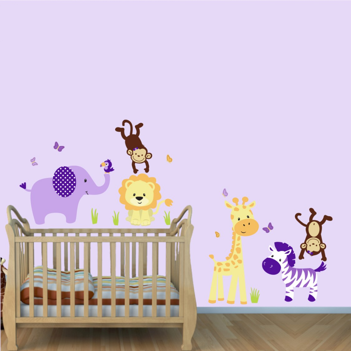 purple jungle wall decals with lion stickers for girls rooms - purple nursery jungle wall decals with lion wall decal for girls rooms