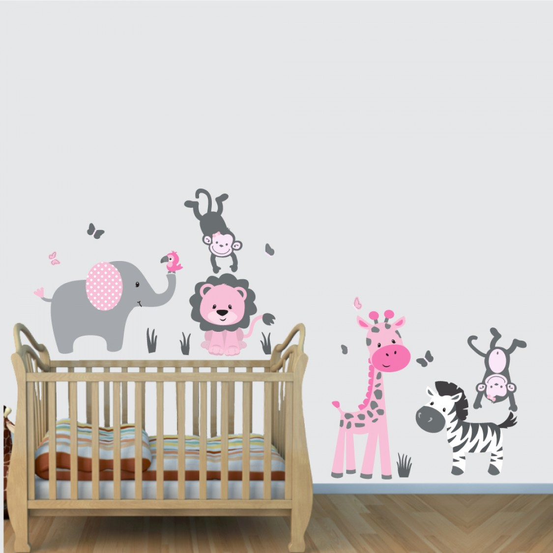 Pink Gray Safari Nursery Wall Decals With Lion Stickers For Boys