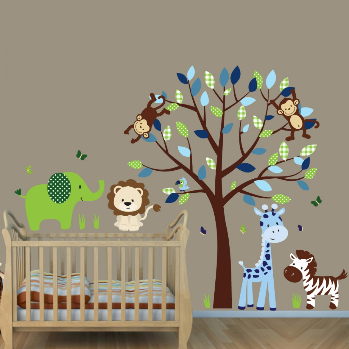 Green blue jungle animal wall decals with elephant wall for Baby jungle mural