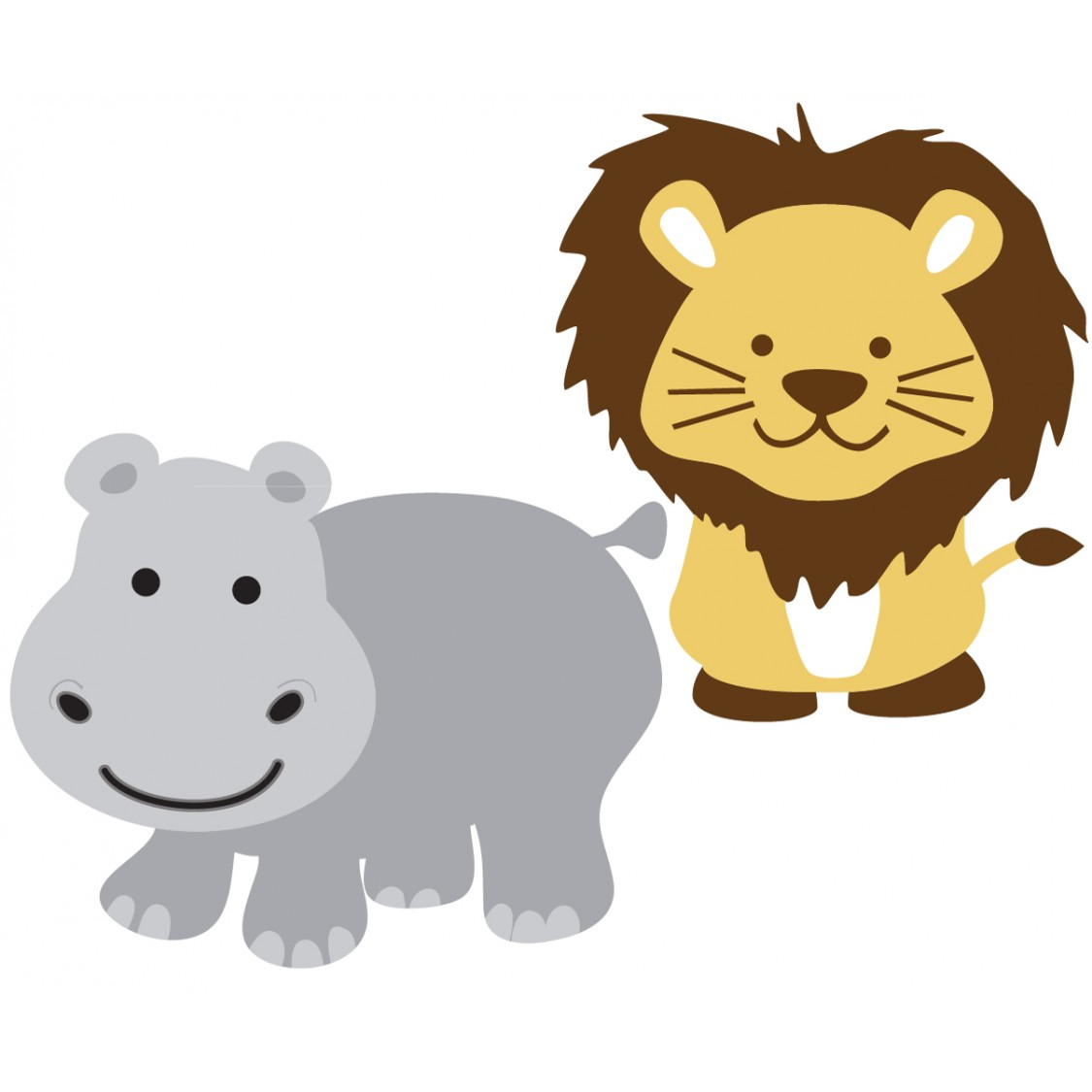Custom Hippo Lion Stickers For Kids