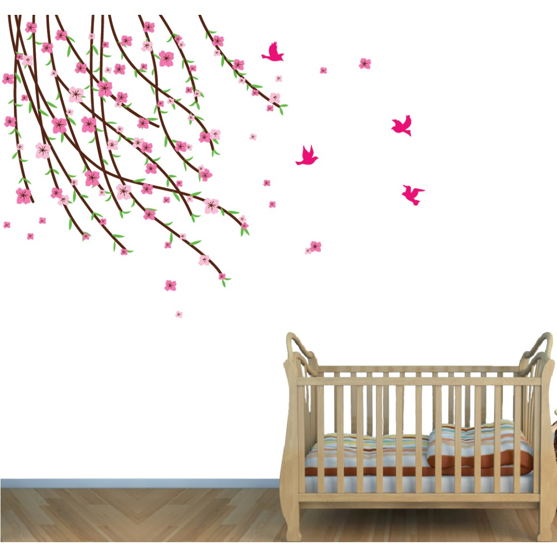 Flowering Branch Large Tree Wall Decal For Girls Rooms
