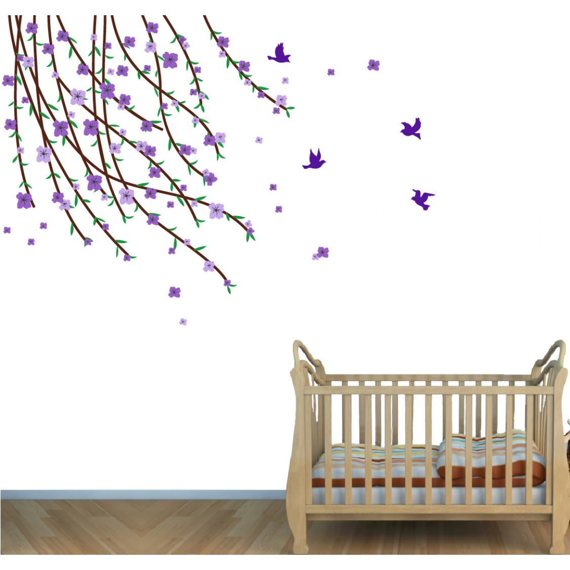 Flowering Branch Wall Sticker Tree For Girls Rooms