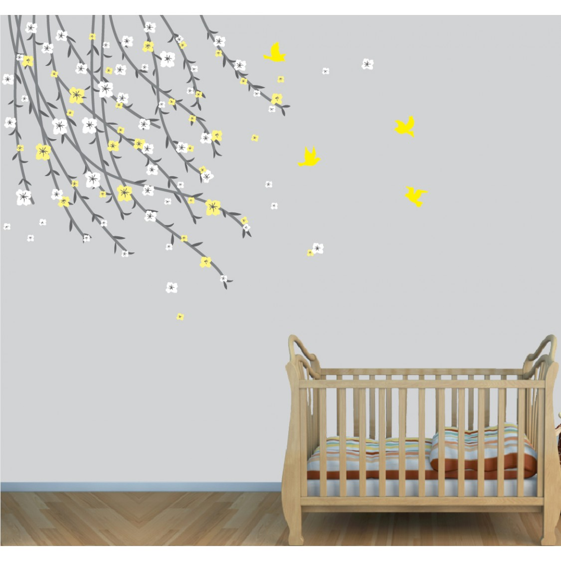 Colorful and Flowering Branch Tree For Nursery Or Baby Room