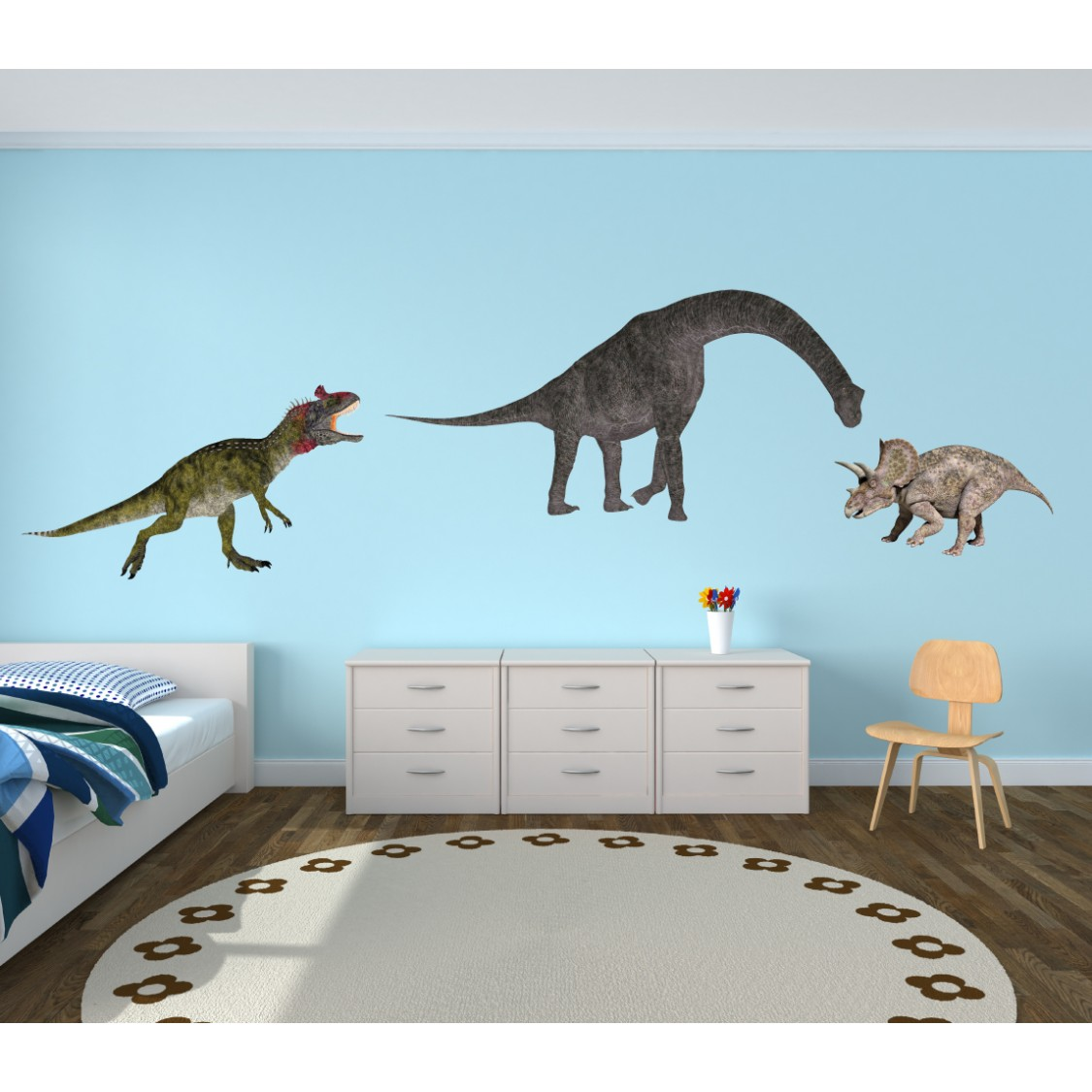 Realistic Large Wall Decal With Dinosaur Wall Decor For Kids