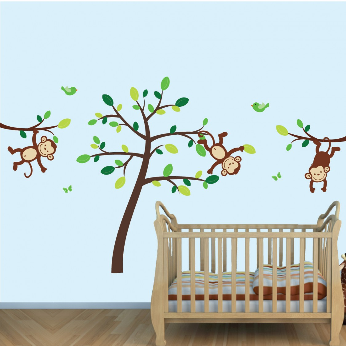 Green & Brown Jungle Tree Wall Decals For Boys Bedrooms