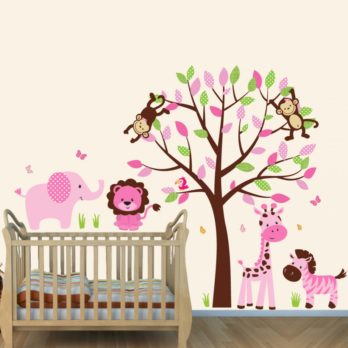 pink and brown jungle murals for kids rooms with elephant wall