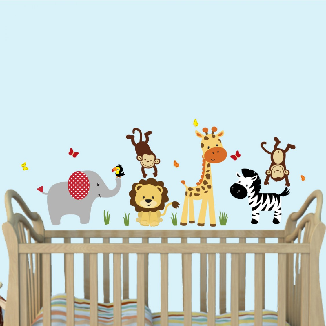 Green Jungle Safari Stickers With Giraffe Wall Sticker For Kids Rooms