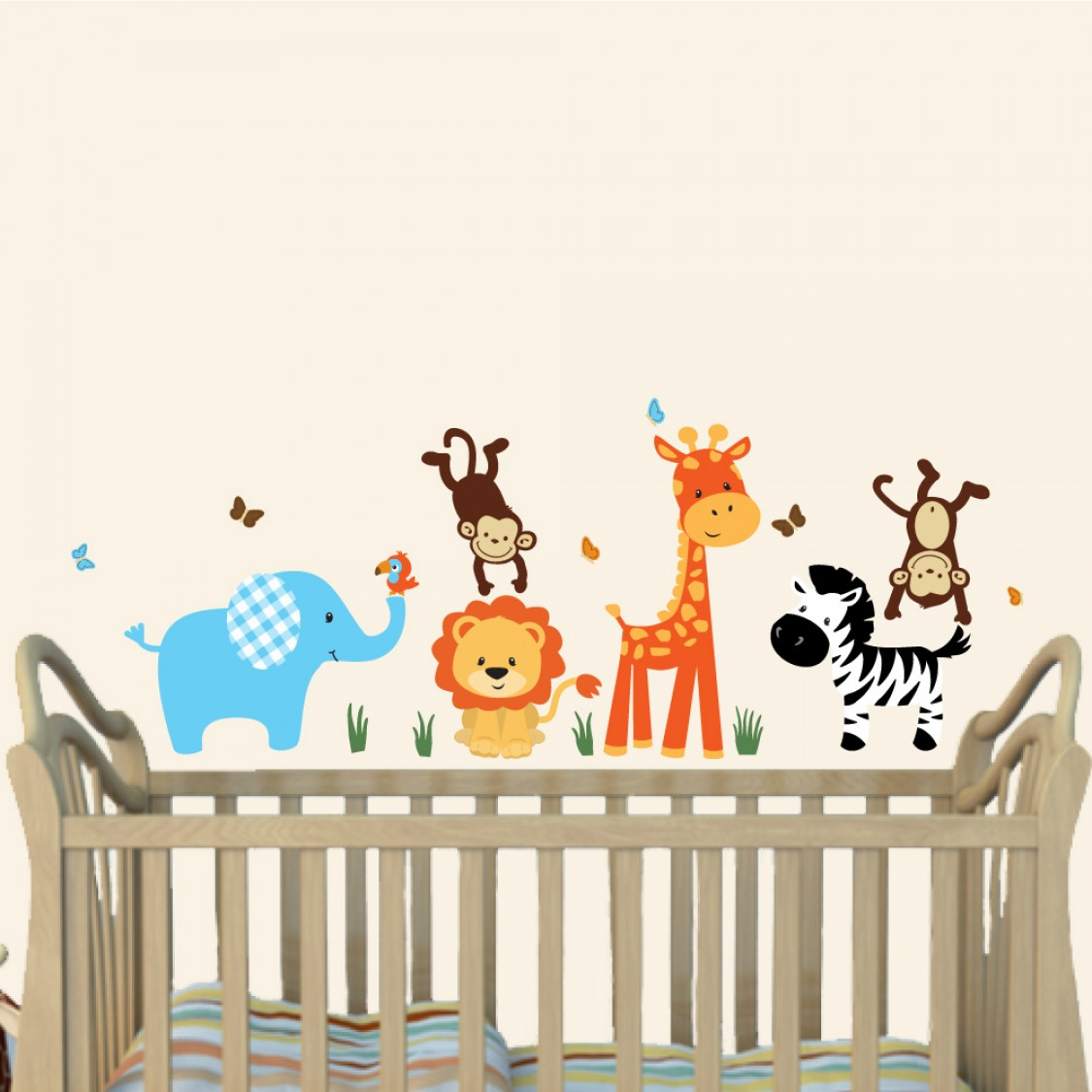Colorful Jungle Wall Decals For Nursery With Wall Sticker Giraffe For Children