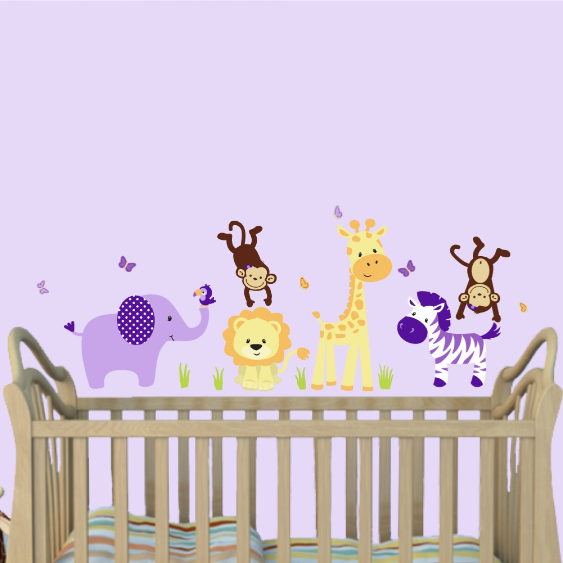 Purple Jungle Wall Murals With Giraffe Wall Stickers For Kids
