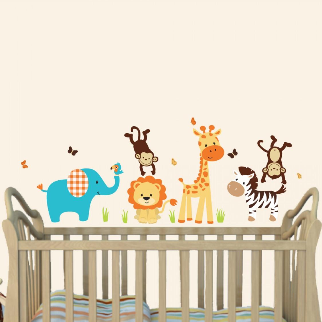 cheerful jungle theme wall decals with wall sticker giraffe for children. Black Bedroom Furniture Sets. Home Design Ideas