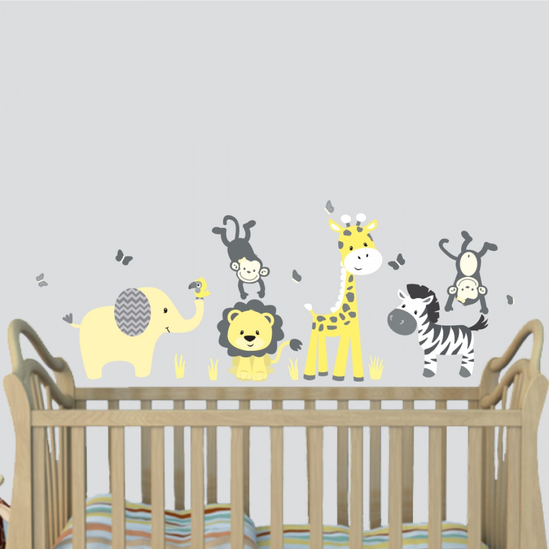 Yellow Gray Jungle Wall Decals With Giraffe Wall Art For Play Rooms