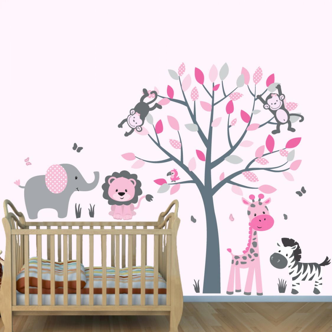 Pink and Gray Jungle Decals With Elephant Wall Decor For Boys Bedrooms