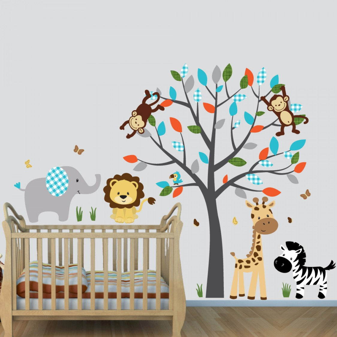 Gray Wall Decals Jungle With Elephant Wall Art For Play Rooms