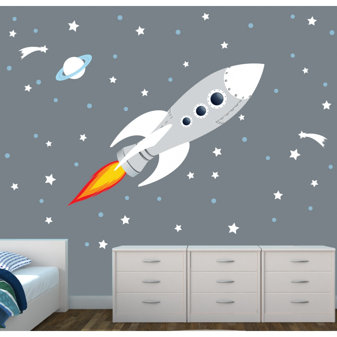 Space wall decals roselawnlutheran for Outer space vinyl wall decals