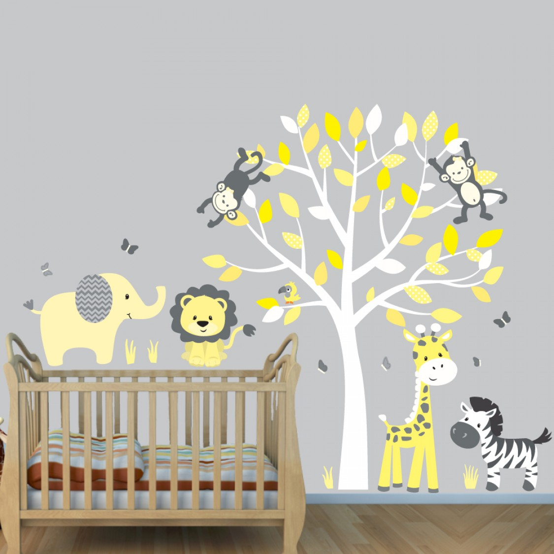 Yellow Gray Jungle Wall Stickers With Elephant Wall Decal For Kids Rooms
