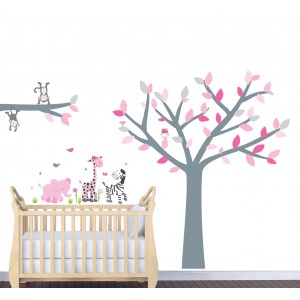 Pink And Grey Jungle Wall Stickers For Nursery With Tree