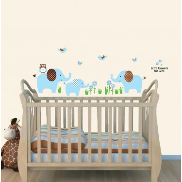 Colorful Safari Wall Murals With Elephant Stickers For Boys