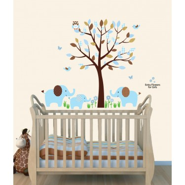 Blue Safari Nursery Wall Decals With Elephant Stickers For Boys