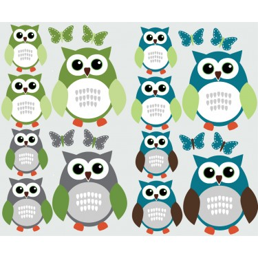 Blue and Grey Owl Wall Stickers With Butterfly Wall Stickers For Kids Rooms For Boys