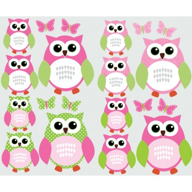 Pink and Green Owl Tree Wall Decal With Butterfly Wall Mural For Kids