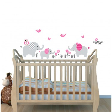Jungle Animal Wall Stickers With Elephant Wall Sticker For Nursery or Baby Room