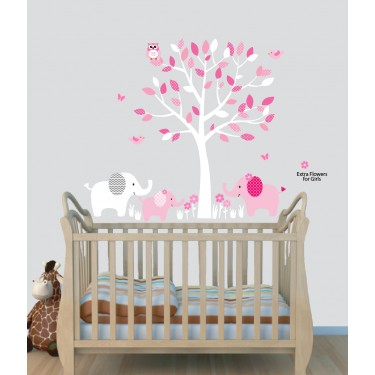 Pink Jungle Wall Murals With Elephant Wall Stickers For Kids