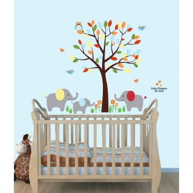 Colorful Wall Decals Jungle With Elephant Wall Art For Play Rooms