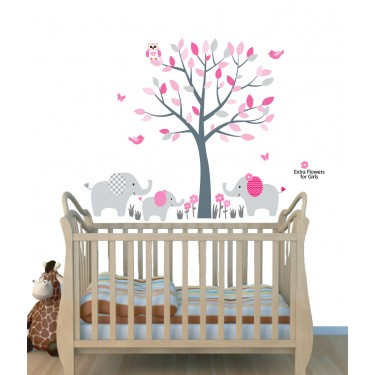 Pink Nursery Jungle Wall Decals With Elephant Art For Kids