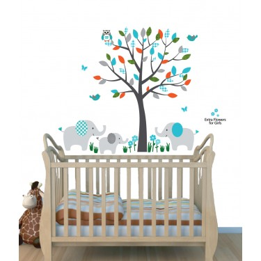 Safari Nursery Wall Decals With Elephant Wall Decor For Kids