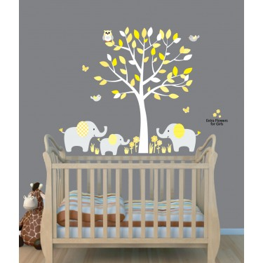 Mini Yellow Gray Elephant Tree Wall Stickers