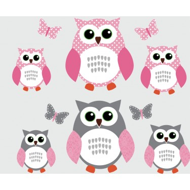 Pink and Gray Owl Decal With Butterfly Wall Mural For Girls