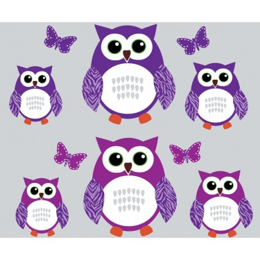 Purple and Green Owl Tree Wall Decal With Butterflies Wall Decor For Girls Rooms