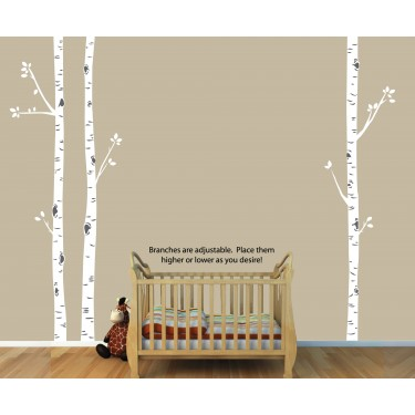 Birch Tree Wall Art and Birch Tree Decals For Nursery For Girls