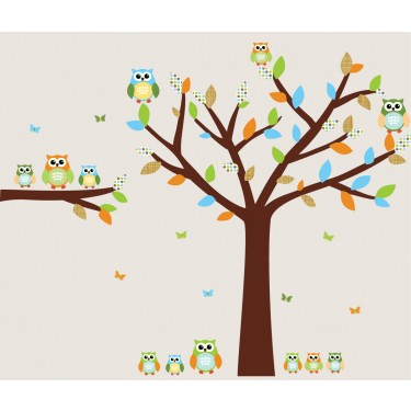Blue and Orange Owl Stickers With Tree Wall Art For Boys Rooms