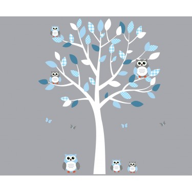 White and Blue Owl Art For Kids With Tree Wall Sticker For Play Rooms