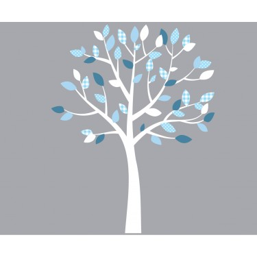 White and Blue Tree Wall Art For Play Rooms