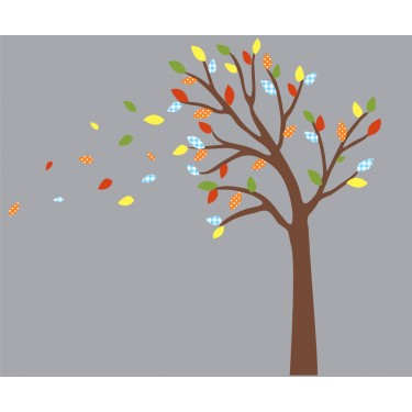 Colorful and Blowing Stickers Tree For Nursery Or Baby Room