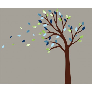 Green and Blue Blowing Black Tree Wall Decal For Boys