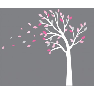 Pink And Gray Blowing Black Tree Wall Decal For Girls Rooms