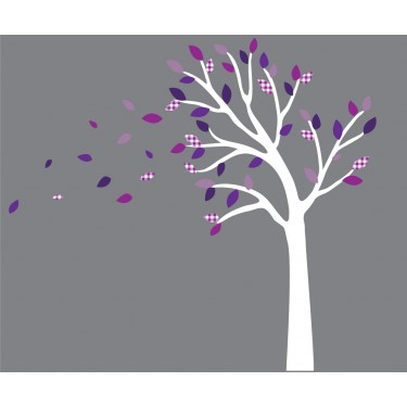 purple and gray blowing tree branch wall decal for girls