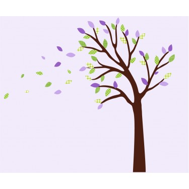 Purple and Green Blowing Wall Sticker Tree For Girls Rooms