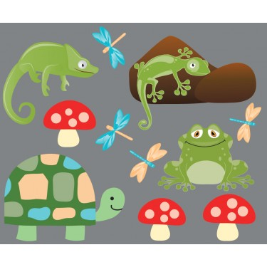 Lizard, Frog and Turtle Wall Decals For Boys